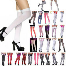 Ladies Girls Sexy Plain Striped Checkered Bow Hold Up Over The Knee Stockings