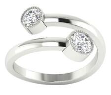 14Kt Gold SI1/G Real 0.75TCW Diamond Bezel Set Solitaire Anniversary Ring Band