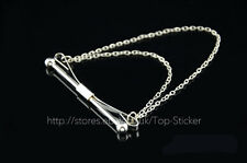 Mens Simple Slim Collar Pin Stainless Steel Tie Clip Clasp Bar With Chain Gift