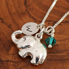 925 Sterling Silver Personalised Cute Elephant Pendant Necklace With Birthstone