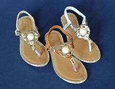 New Toddler Youth Girls Thong Sandals Gladiator Silver Gold Tan Summer Spring
