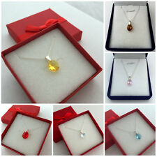 Beautiful Pendant Necklace 13 colours Swarovski Elements Crystal Mini Pear 10 mm