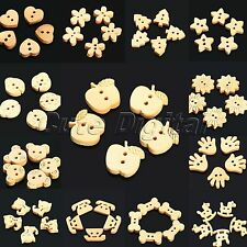 100pcs Lovely Cartoon Wooden Buttons Scrapbooking Clothing Sewing Bead DIY Craft