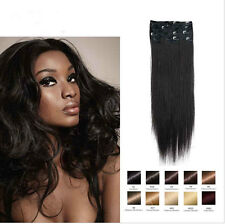 7Pcs Set  100% Remy Real Human Hair Premium Clip in Hair Extensions Weft