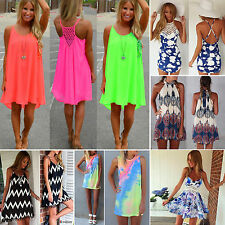 Womens Summer Boho Shift Short Dresses Bikini Cover Up Beach Swimwear Mini Skirt