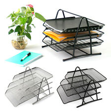 Wire Mesh Office A4 Document Letter Paper Storage Filing Trays Holder 2 Colour