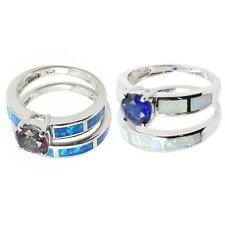 Stunning Fire Opal Inlay Genuine 925 Sterling Silver Band Stack Ring Set W2Y7