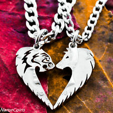 Tribal Tigress and Wolf Necklace Set, Friendship necklaces, Half Dollar Cut