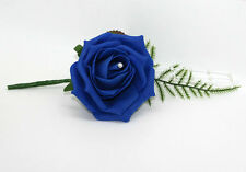 10 OR 12 PACK BLUE FOAM ROSE WEDDING BUTTONHOLES CORSAGE GUEST GROOM BESTMAN