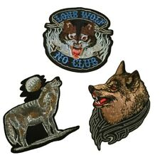Lone Wolf No Club Patch Embroidered Iron On Jacket Vest Motor Cycle Outlaw Biker