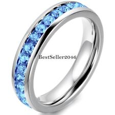 Stainless Steel Cubic Zirconia Eternity Mens Womens Wedding Promise Wedding Ring