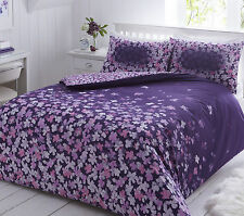 Scattered Floral Purple Duvet Cover Quilt And Pillowcase Set Single Double King