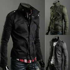 Gray Men Zip Button Hooded Military Slim Fit Collar Jacket Coat Outwear Fashion