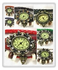 LOT of 5 or 10 Watches-Rose Charm Western Genuine Leather Vintage Bracelet Women
