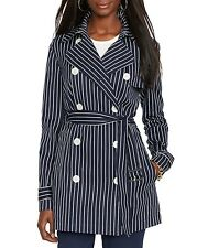 NWT Ralph Lauren Navy/White Striped Double-Breasted Trench Coat $198 Size XS