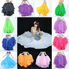 1x Belly Dance Costume Chiffon Three Layers Skirt Dress Girls Multi Color 3SE