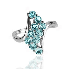 Natural Gemstone Sky Blue Topaz Solid 925 Sterling Silver Journey Ring (r335)