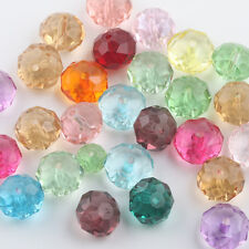 Wholesale Mixed Crystal Crack Faceted Rondelle Loose Spacer Beads Charm 10/12mm
