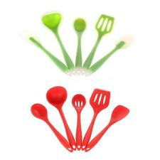 5pcs Silicone Kitchen Cooking Tools Set Spatulas Spoon Slotted Turner Ladle S5F1