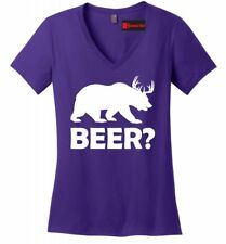 Beer Deer Bear Funny Ladies V Neck Soft T Shirt Hunting Guns Beer Party Tee Z5