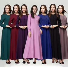 Muslim Girls Chiffon Kaftan Islamic Long Sleeve Dress Arab Jilbab Abaya Clothes