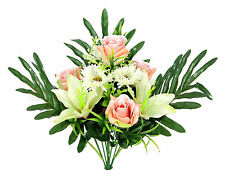 Artificial Blooming Lily, Rose, Daisy Flowers and Greenery Mixed Flowers Bush