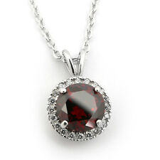 Sterling Silver Simulated Garnet and Cubic Zirconia 8mm Halo Pendant Necklace
