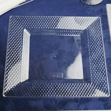 """Plastic 10.75"""" CLEAR SQUARE PLATES Honeycomb Party Wedding Disposable TABLEWARE"""