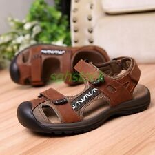 Roman Sandals Shoes Mens Summer Leather Closed Toe Casual Beach Sandals Shoes