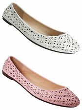 WOMENS CUT OUT DETAIL FLAT DOLLY BALLET BALLERINA PUMPS SHOES LADIES UK SIZE 3-8