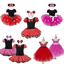Girls Red Polka Dots Minnie Mouse Tutu Pettiskirt Party Dress Birthday Costume