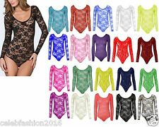 LADIES WOMENS EMBROIDERY FLORAL LACE BODY TOP FANCY SEXY BODYSUIT LEOTARD