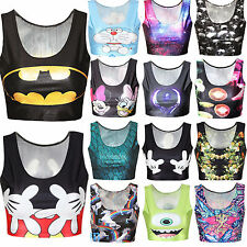 Women Cartoon Midriff Crop Top Singlet Racerback Vest Tank Top T-Shirt Tee Beach