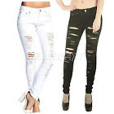 Casual Ripped Skinny Denim Jeans Jeggings Pocket Long Trousers Ladies Gifts