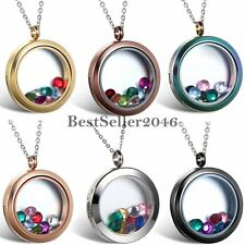 Living Memory Floating Charms Glass Round Locket Ladies Pendant Necklace For Mom