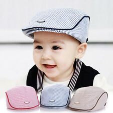 Baby Kids Cute Cotton Stripe Beret Cap Boy Girl Peaked Baseball Casquette Hat