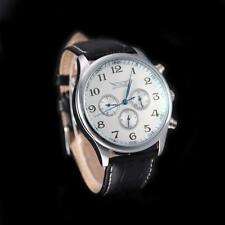 Men's Automatic Mechanical Date Day Analog Army Leather Strap Sport Watch D9F4