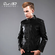 Mens Stylish Slim Fit Leather Jackets Stand Collar Thicken Motorcycle Coat Black