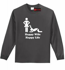 Happy Wife Happy Life CC Funny Mens L/S Shirt Marriage Husband Gift Z1