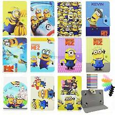 """Cartoon Minions Case for Kids universal 7 inch 7.9""""tablet PU Leather Stand Cover"""