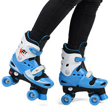 Children's Roller Skates Boys' Adjustable Quad Boots Blue Pro Skating XR-1