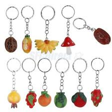 Cute Painted Resin Fruit Pendent Charm Purse Bag Keyring Key Chain Keyfob 12pcs
