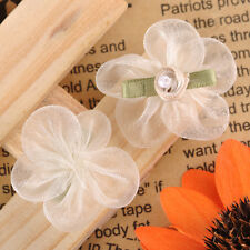 20pcs Satin Ribbon Pink Flower with Green Leaf Bead Appliques Embellishments 707