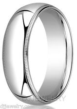 10K White Gold Wedding Band Ring 7mm S13-14 Milgrain Comfort Fit 2mm Thick