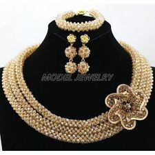 Handmade Gold Crystal Beads Jewelry Set Chunky Statement Women Party Jewelry Set