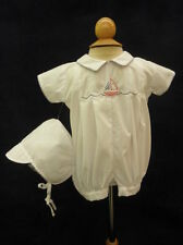 Will'beth Newborn Baby Boy Nautical Outfit Romper With Hat Sz 0NWT