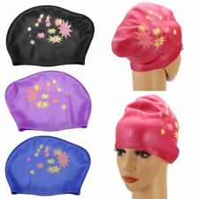 Women Adult Silicone Swim Cap Long Hair Bath Hat with Ear Cup Waterproof