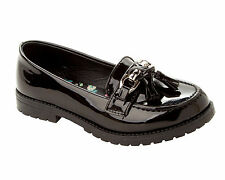 GIRLS BLACK PATENT SCHOOL SLIP ON CHUNKY LOAFERS DOLLY PUMPS SHOES UK SIZE 13-5