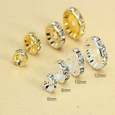 Silver&Gold Plated Rondelle Straight Shape Rhinestone Crystal Spacer Beads