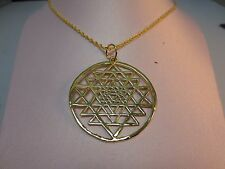 "14 KT GOLD PLATED SRI YANTRA PENDANT CHARM ALMOST 2 ""HIGH WITH A ROPE CHAIN-132"